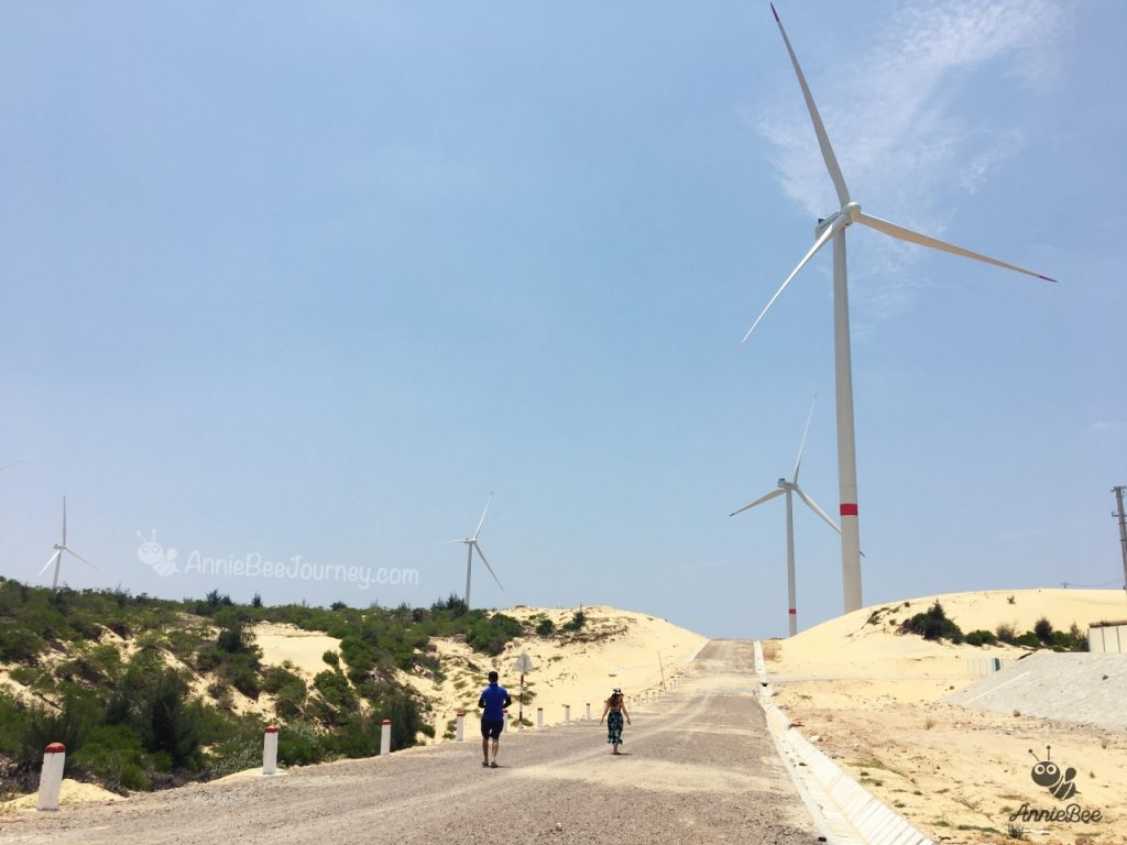 a long road with sand dunes on either side in Phuong Mai peninsula in Quy Nhon, Vietnm