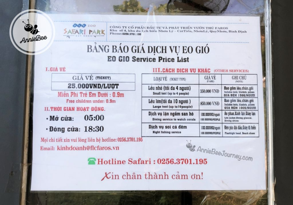Service cost at Windy Strait Eo Gio in Quy Nhon, Vietnam