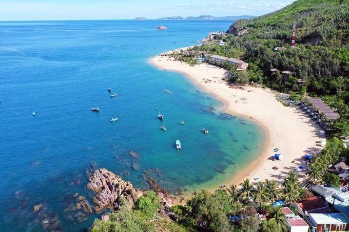 Blue and pristine beach at Bai Xep beach in Quy Nhon, Vietnam