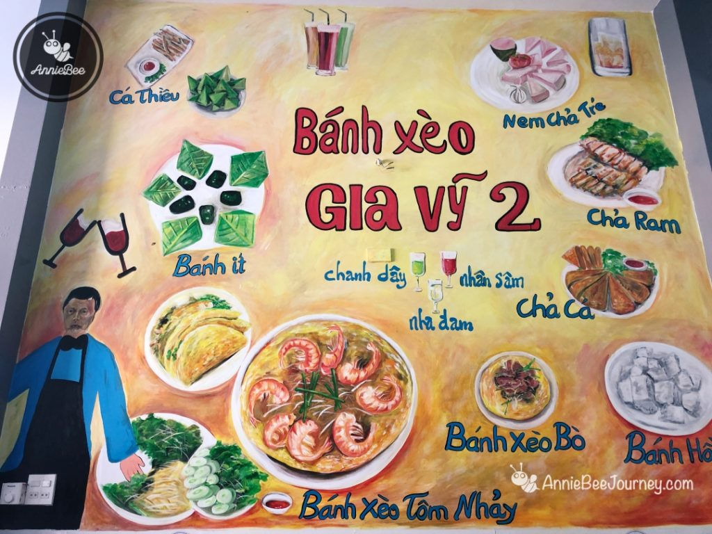 Gia Vy restaurant with the popular dish Jumping shrimp pancake in Quy Nhon, Vietnam