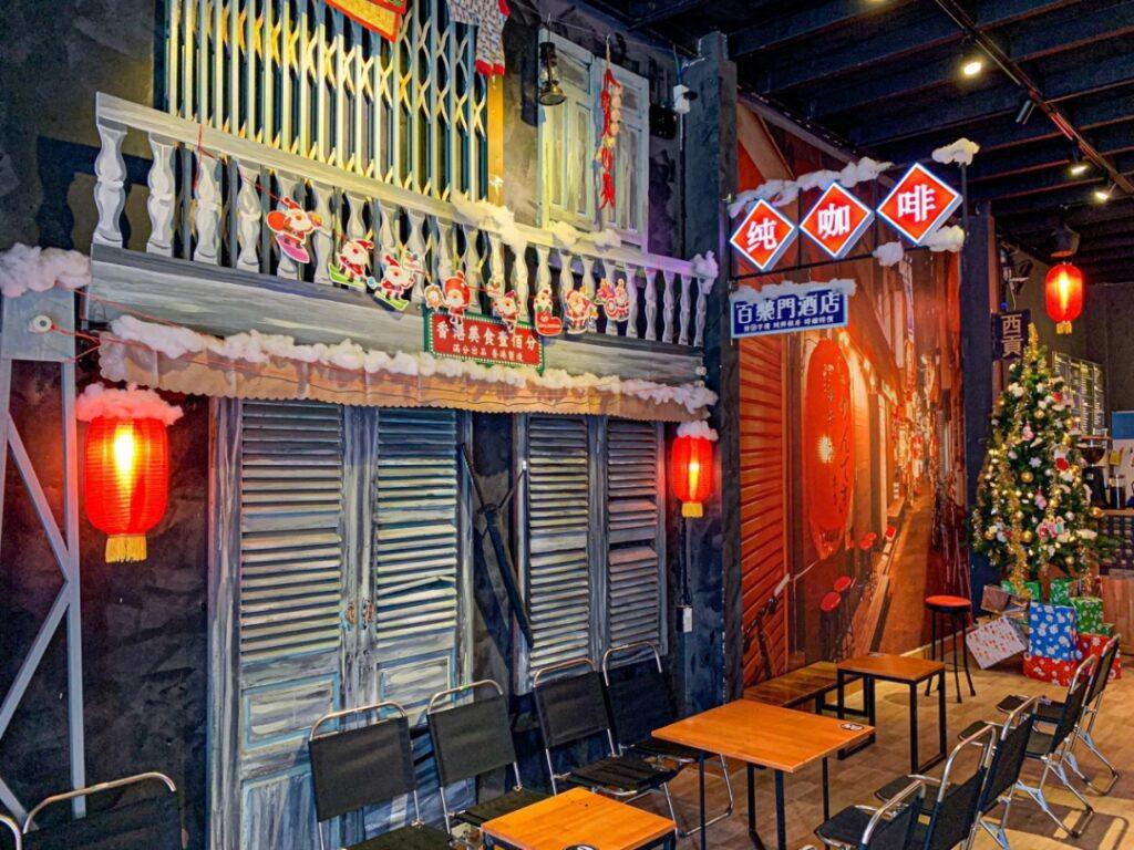 Decoration reminds Hongkong alleys at Little Hong Kong coffee shop in Quy Nhon, Vietnam