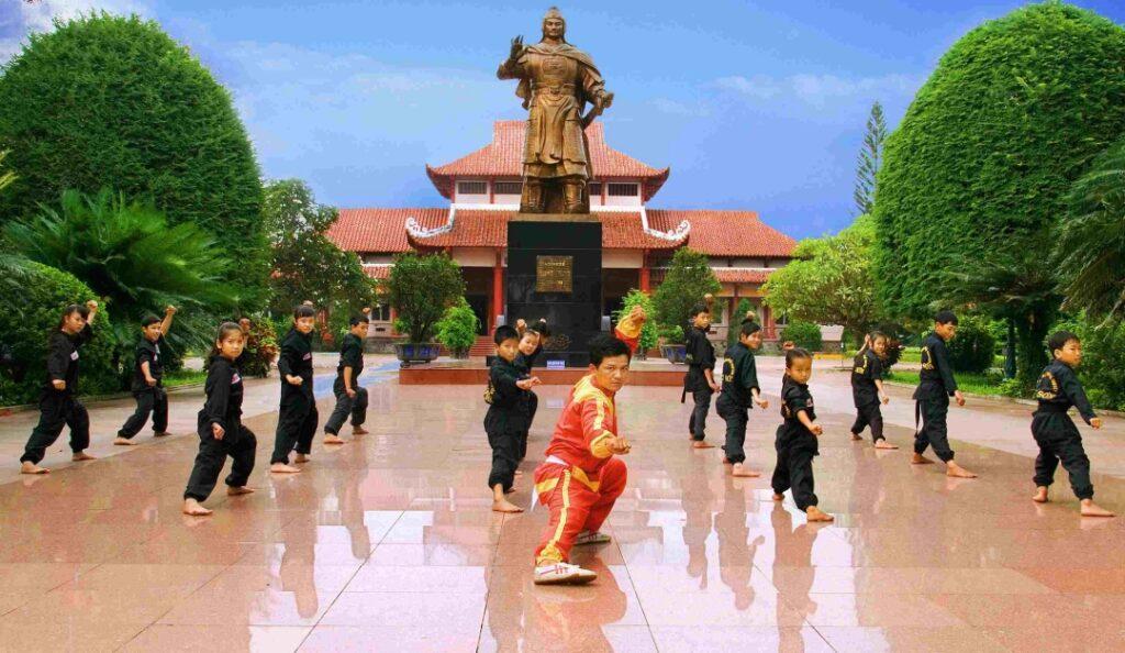 Traditional martial arts at Quang Trung museum in Quy Nhon, Vietnam