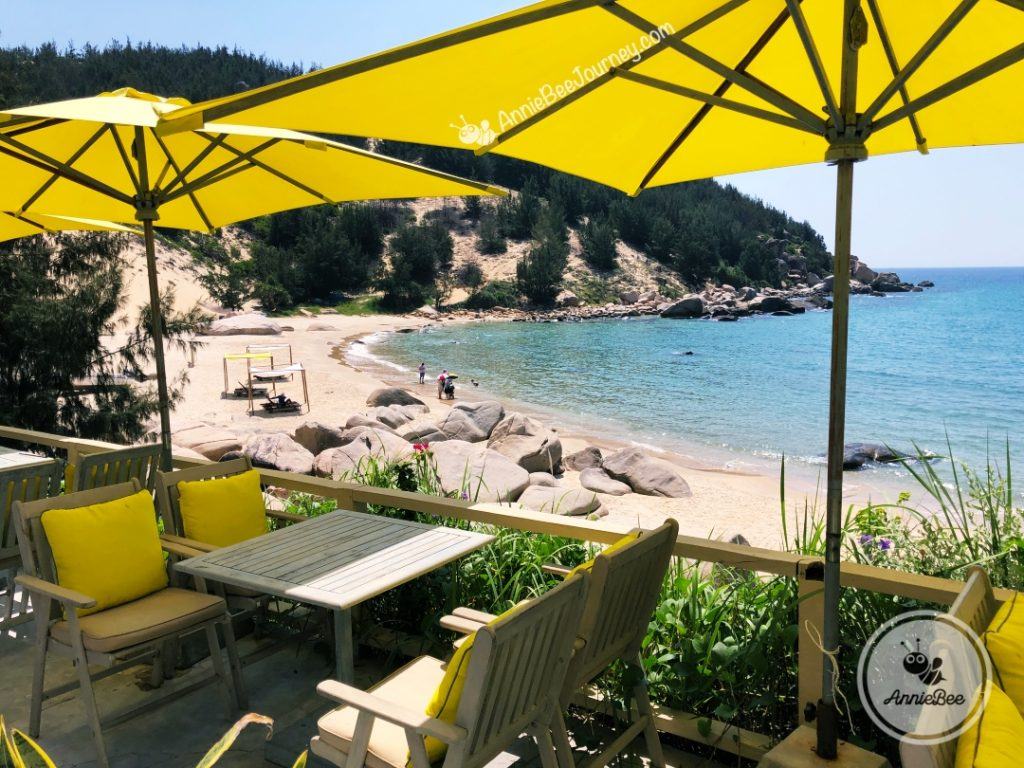 Sea view coffee shop at Trung Luong camping site in Quy Nhon, Vietnam
